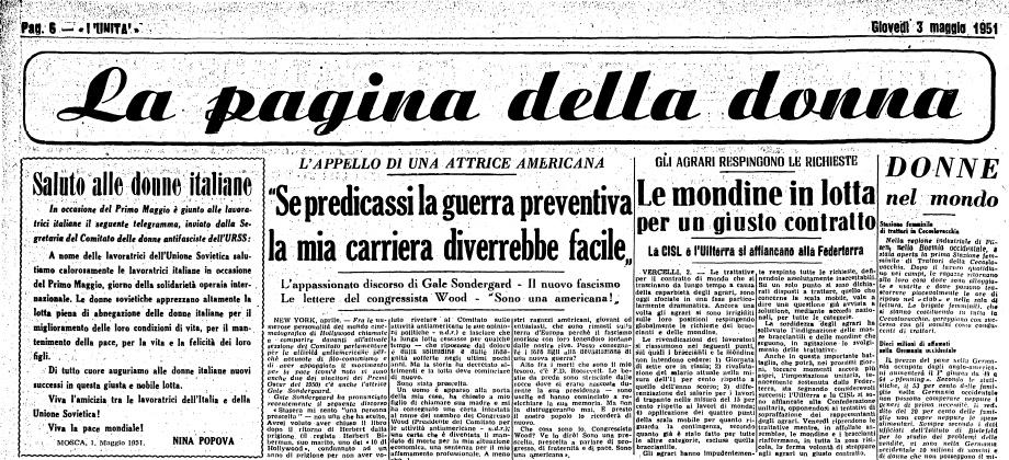 la pagina delle donne 1951